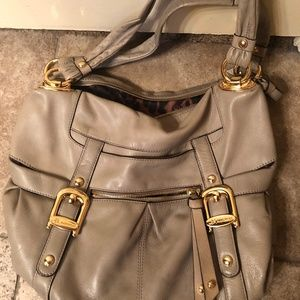 B. Makowsky Leather Shoulder Bag in Stone